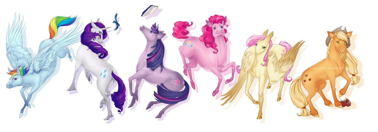 Ponies Lineup by Kinky-chichi