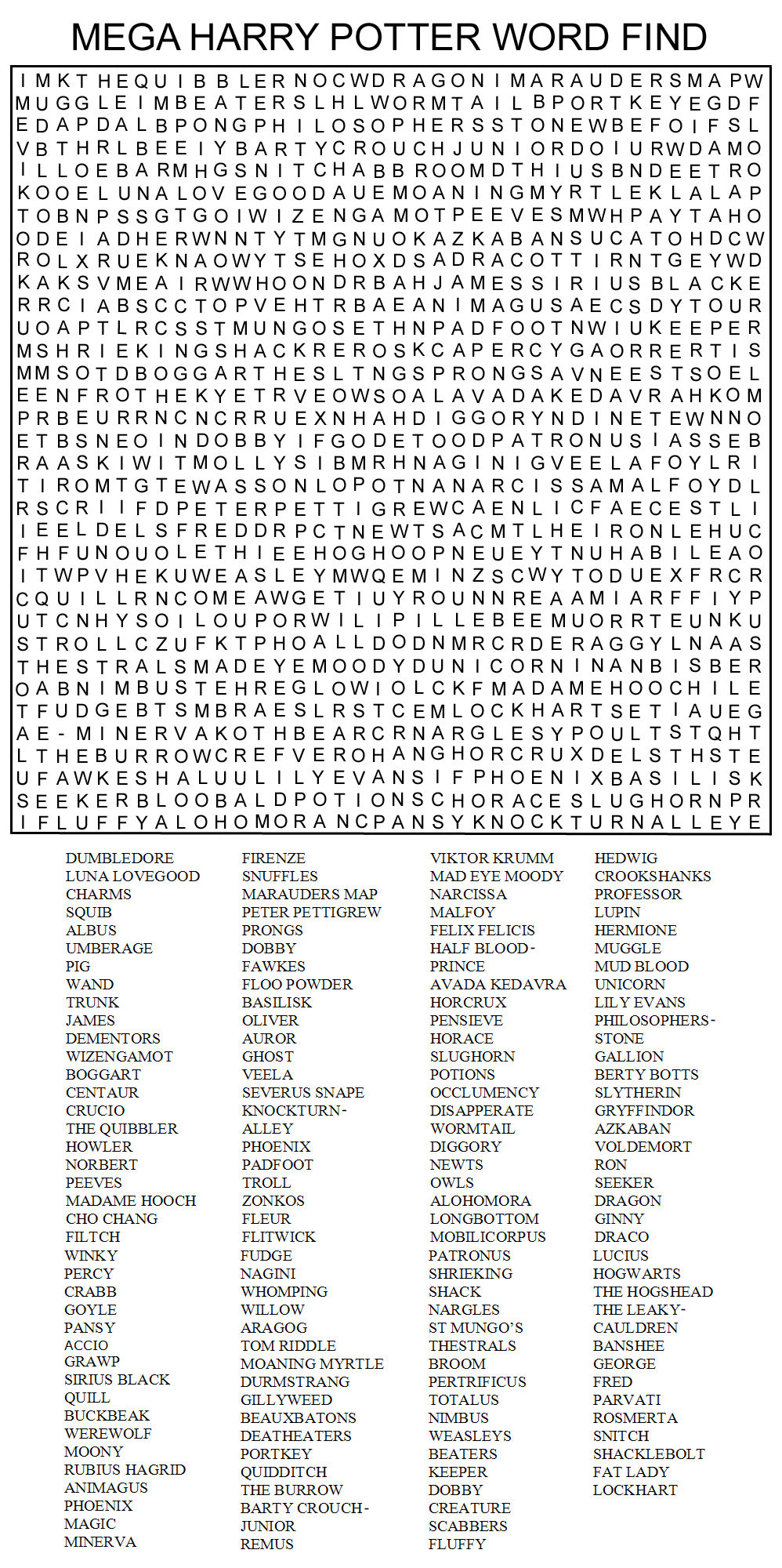 mega harry potter word find by kinky chichi on deviantart