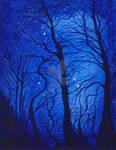 Midnight Forest Fantasy Night Landscape by Kislotnui-Ojog
