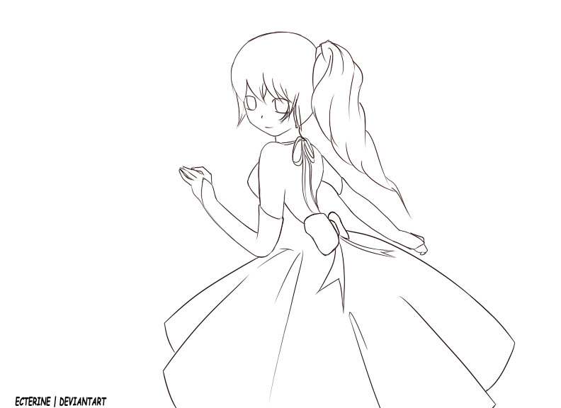 Girl in dress outline by ecterine