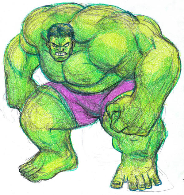 Hulk color pencil sketch by parmaali