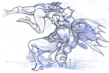 Banegirl vs Catwoman by parmaali