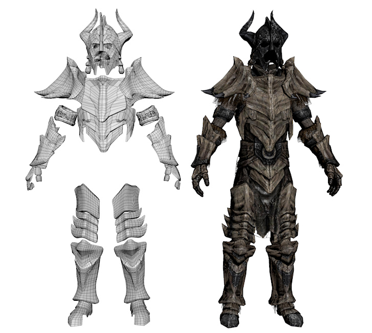 Dragonbone Armor Smoothed Hd 3d Models By Vrogy On