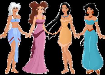 Kida, Meg, Pocahontas, Jasmine by Aphrodit-e