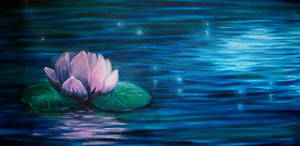 water lily and fireflys by daroitelisabetta