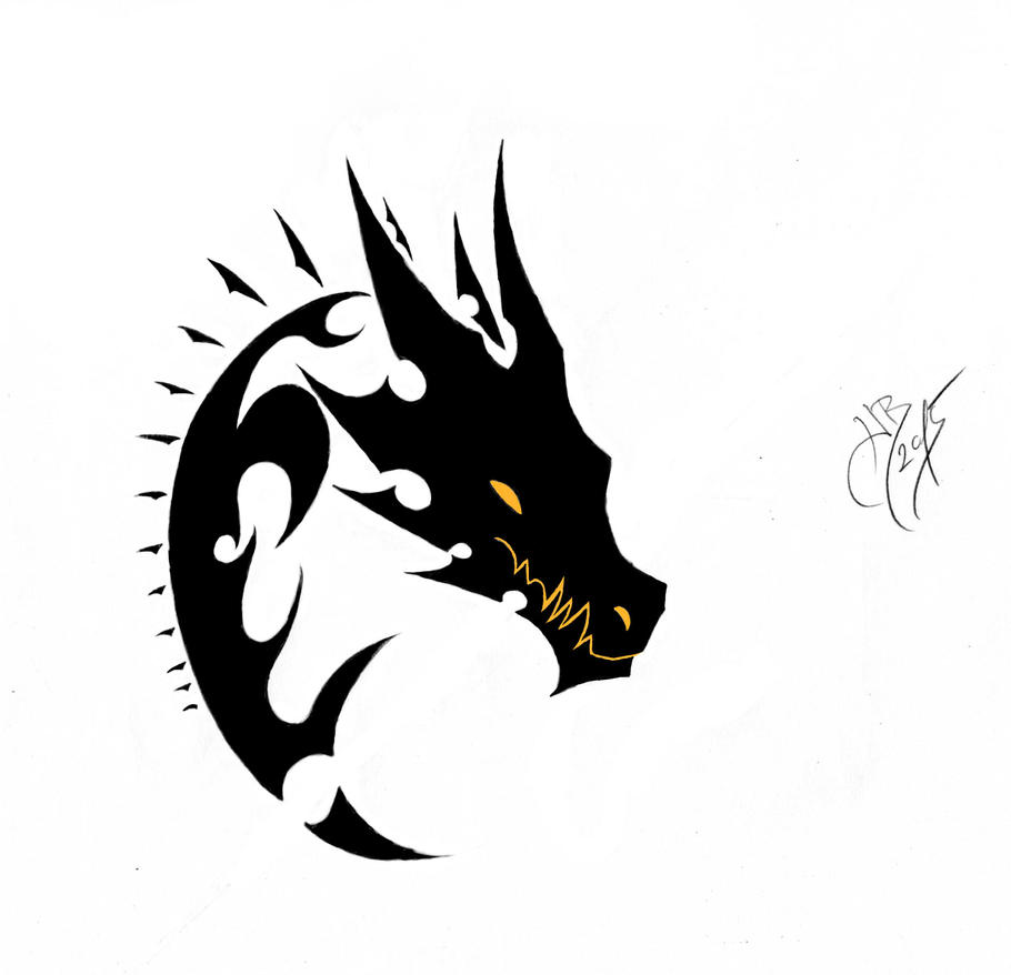 Simple Dragon Head Tattoo