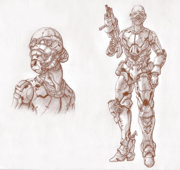 Cyberpunk soldier II by likaspapaya