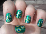 Peacock Feather Inspired Nails