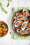 Mussels and mixed veggies