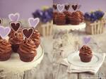 Chocolate Cupcakes with Purple Hearts
