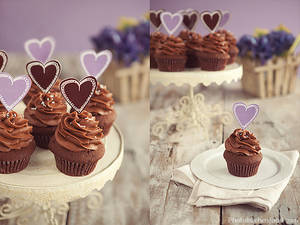 Chocolate Cupcakes with Purple Hearts