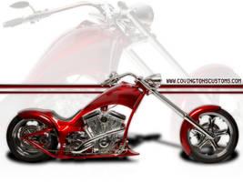 Red Chopper Custom Motorcycle by random667
