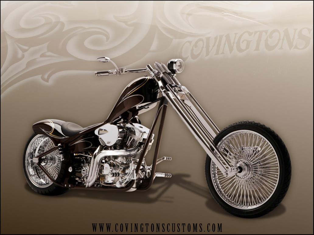 Slim Red Black Chopper Motorcycle Wallpaperr