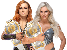 Becky and Charlotte Women's Tag Team Champs Render