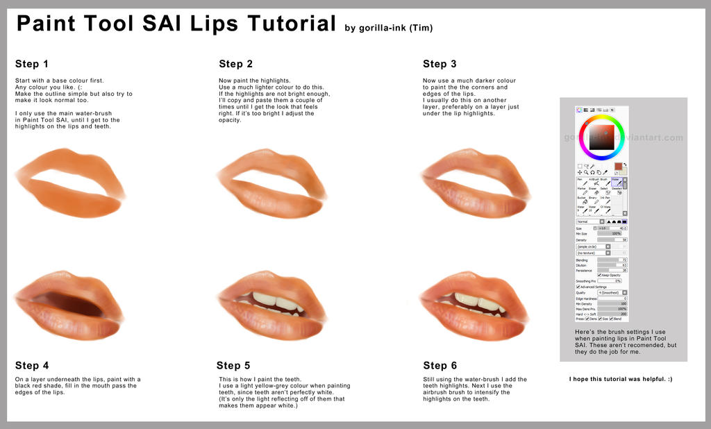 Paint Tool SAI   Lips Tutorial by goRillA iNK. Paint Tool SAI   Lips Tutorial by goRillA iNK on DeviantArt