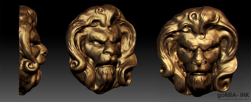 Lion-Man Gold Head Visage by goRillA-iNK
