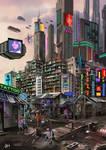 Cyberpunk concept art: Claypool City