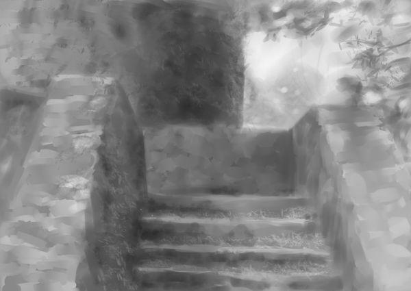 ruined stairway speed paint
