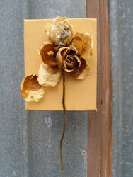 dead flowers stiched to canvas