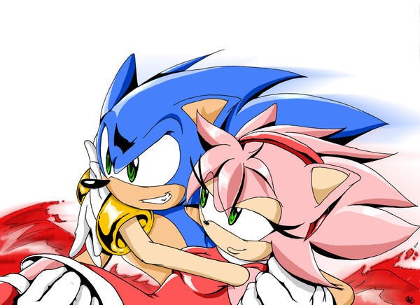 Sonic and amy having it in bed