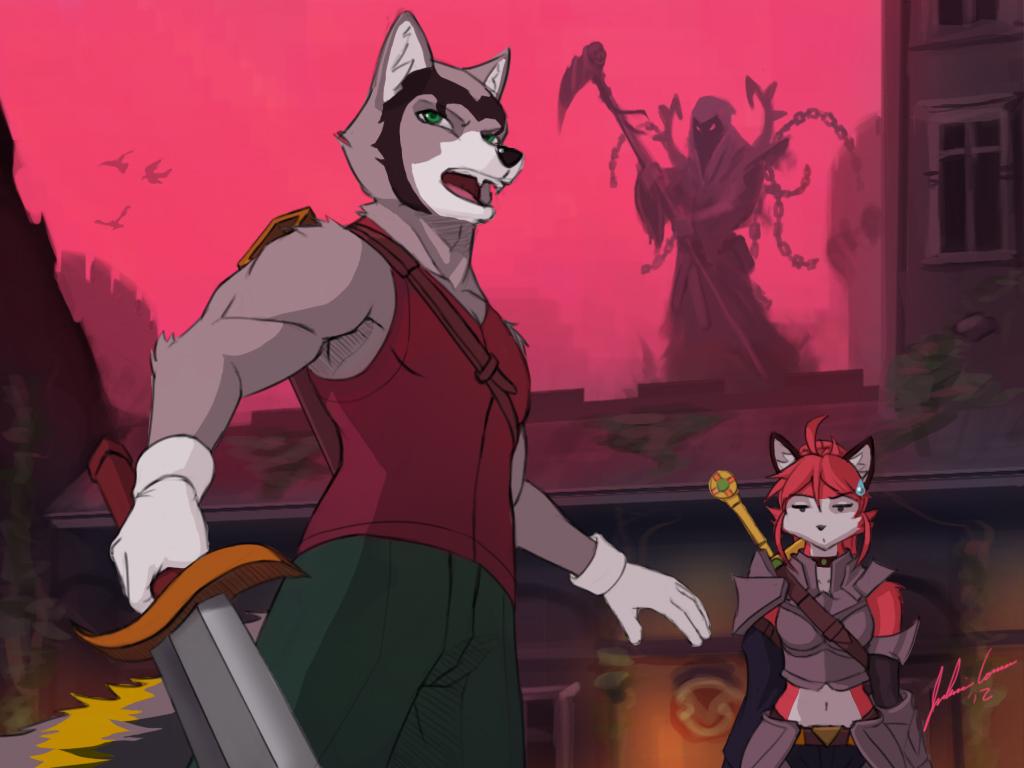 Husky Defending Nora by JECBrush