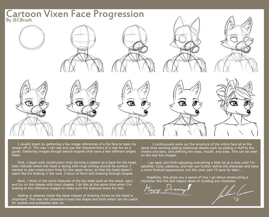 Cartoon Vixen Face Progression by JECBrush