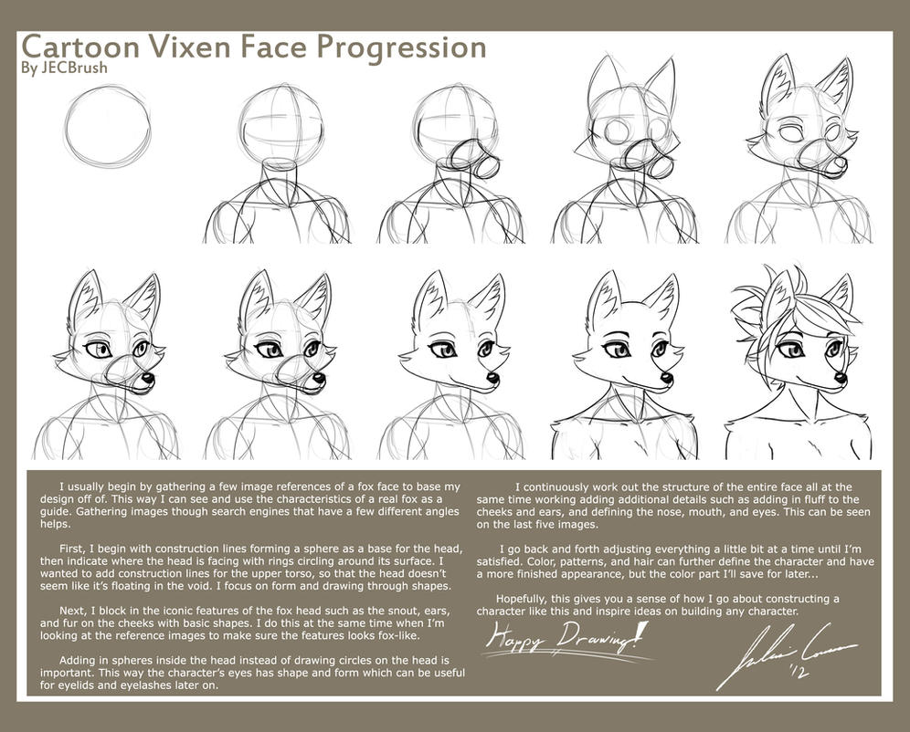 Cartoon Vixen Face Progression by JECBrush