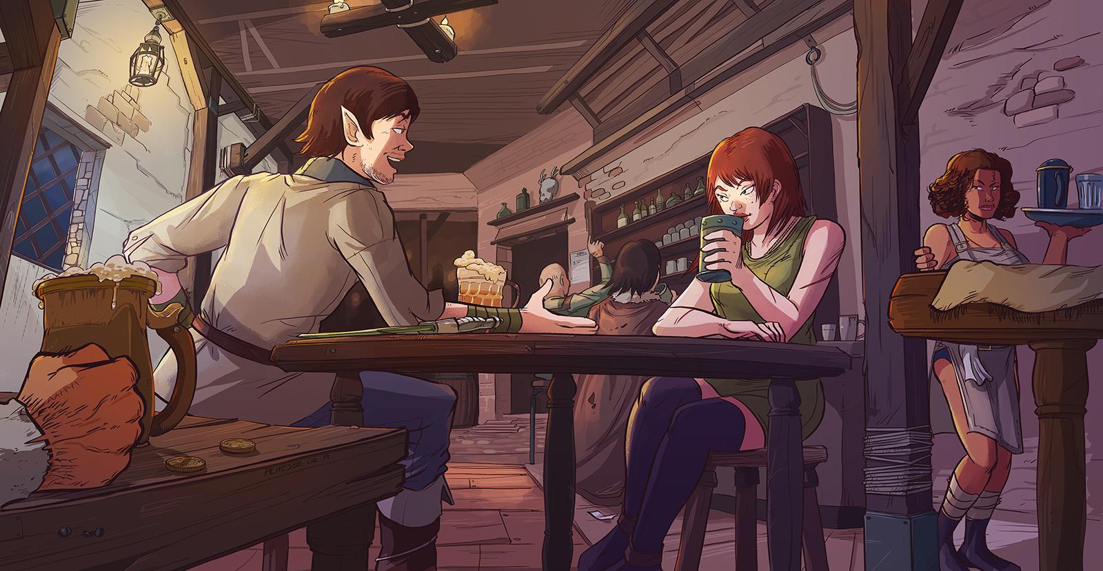 Commission - Bardik and Marina, Tavern Scene by Pehesse