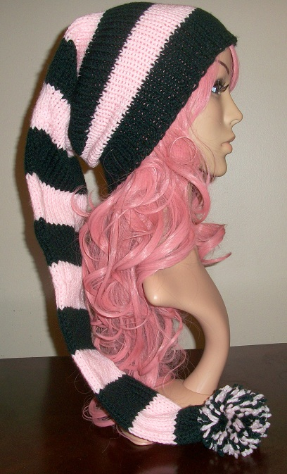 Pink and Black Elf Hat by Branxnia