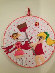 Jun vs Roll - Tatsunoko vs. Capcom Embroidery Hoop by CutieCornerCrafts