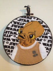 It's a Trap! Admiral Ackbar embroidery hoop. by CutieCornerCrafts