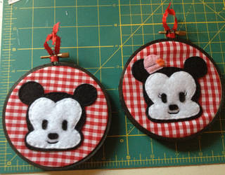 Mickey and Minnie Embroidery Hoops by CutieCornerCrafts