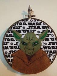 Yoda (Clone wars cartoon style) Embroidery Hoop by CutieCornerCrafts