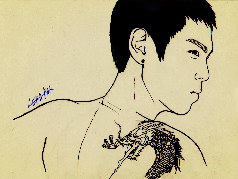 with the G-Dragon tattoo  G Dragon Tattoo 2014
