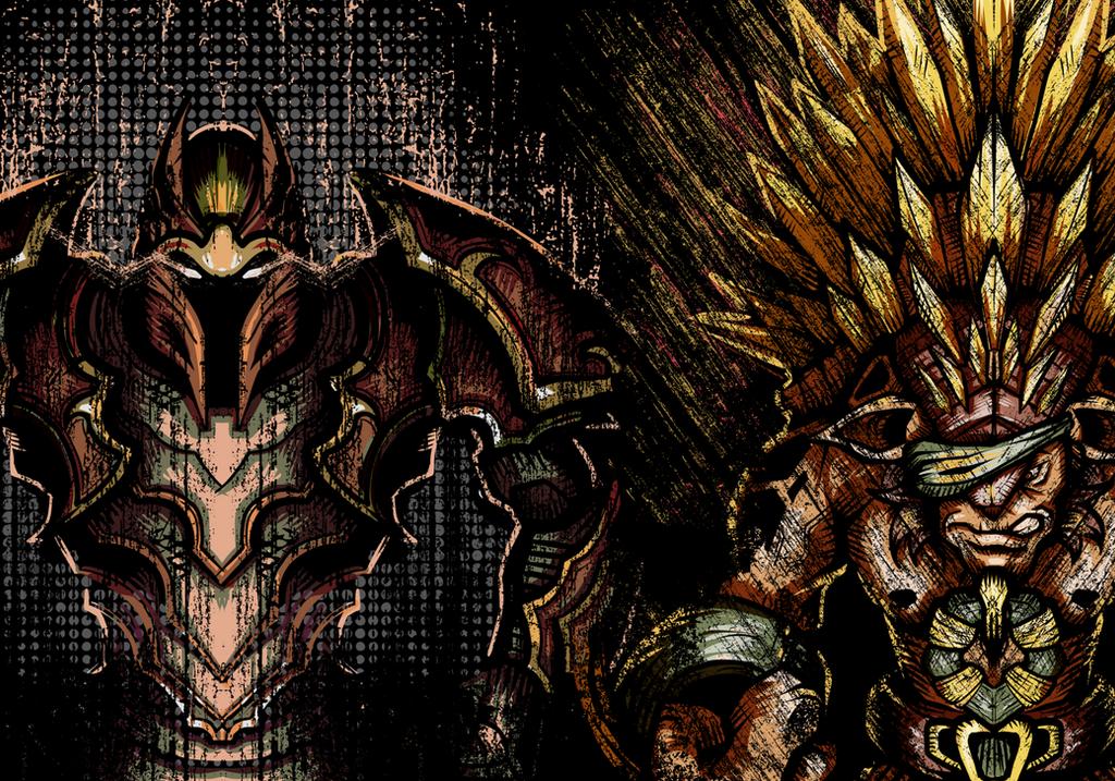 Dragon Knight Davion and Bristleback Rigwarl by wuhuli