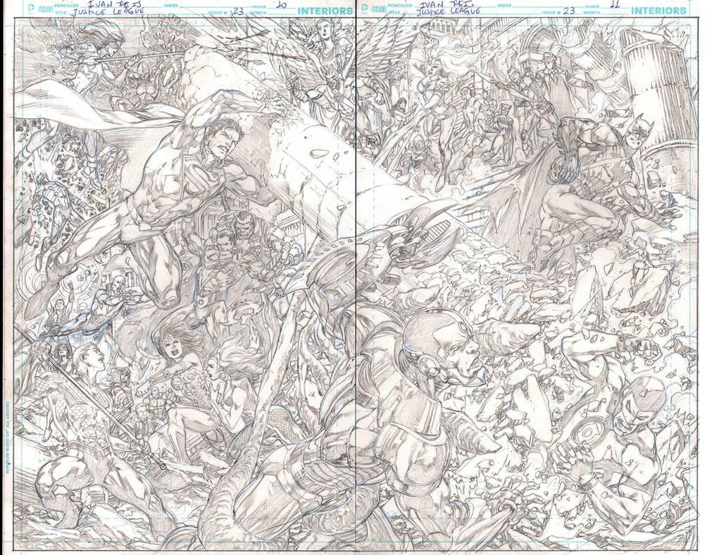 Justice League #23 pg 10/11L by IvanReisDC
