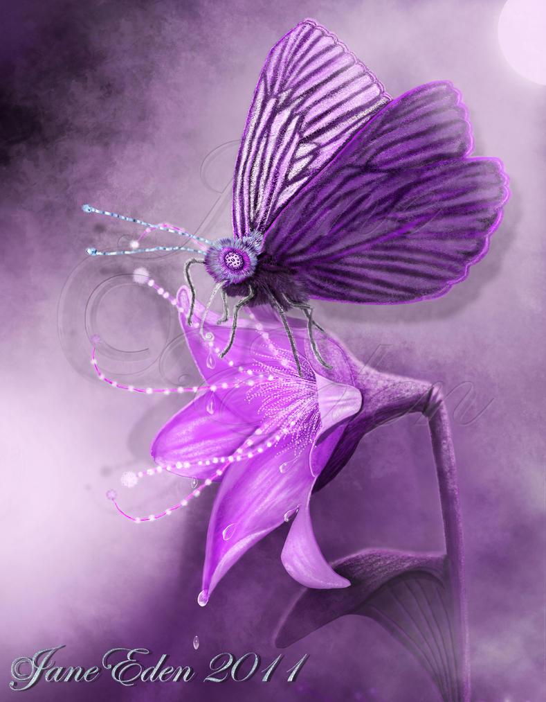 Magenta Moth and MagicalFlower by JaneEden