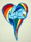 Rainbow Dash Heart  Perler Wall Art