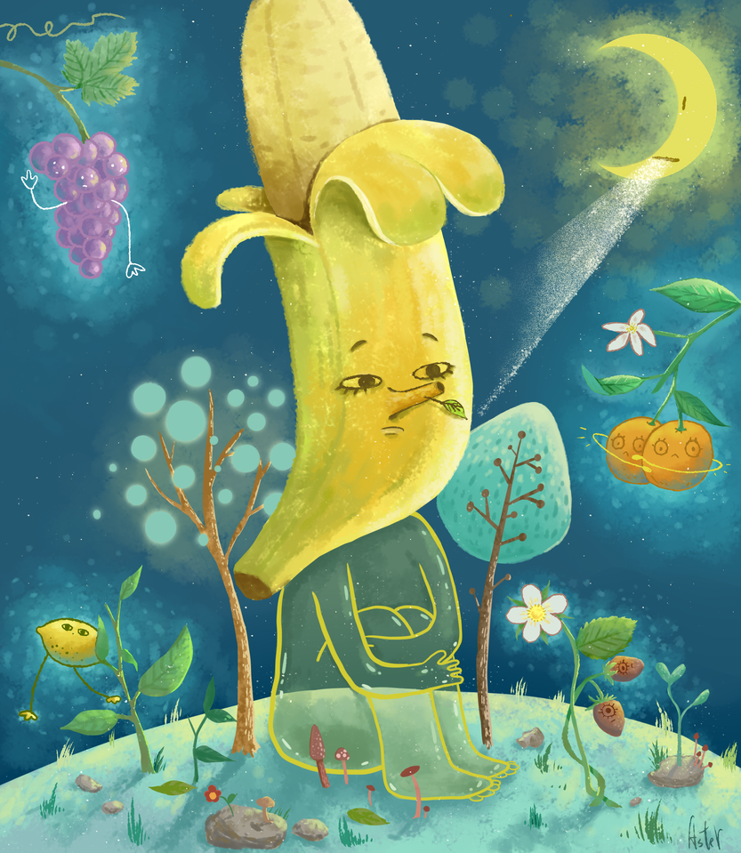 Banana and the moon by AsterKuo