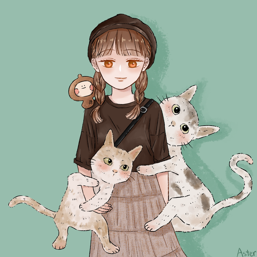 GIRL AND THE CATS by AsterKuo