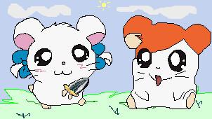 Bijou And Hamtaro by Min4