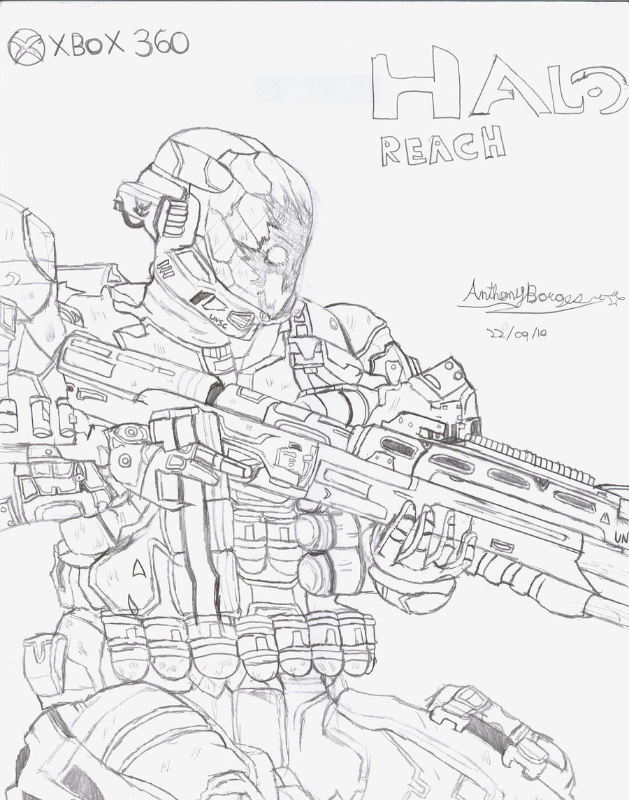 Halo Characters Drawings Halo Reach Spartan Drawing