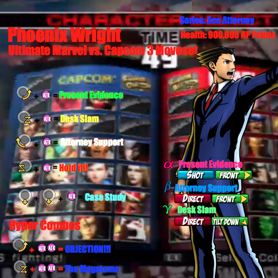 Phoenix Wright UMVC3 Moveset by Hotfeet444