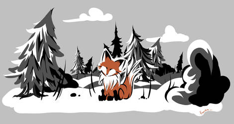 Snow and Fox by FaustSky