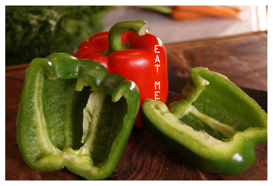 red peppers by littlegreencow