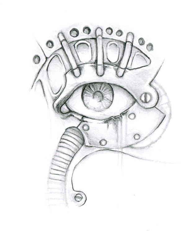 Biomechanical Tattoo Line Drawing : Biomechanical eye by enguerrand on deviantart