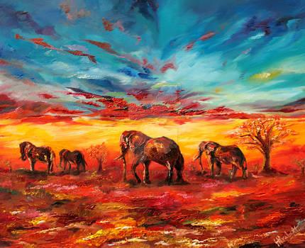 Landscape with Elephants