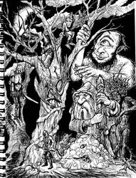 Creature Convention in the Dark Woods by Stone-Pi-Comics