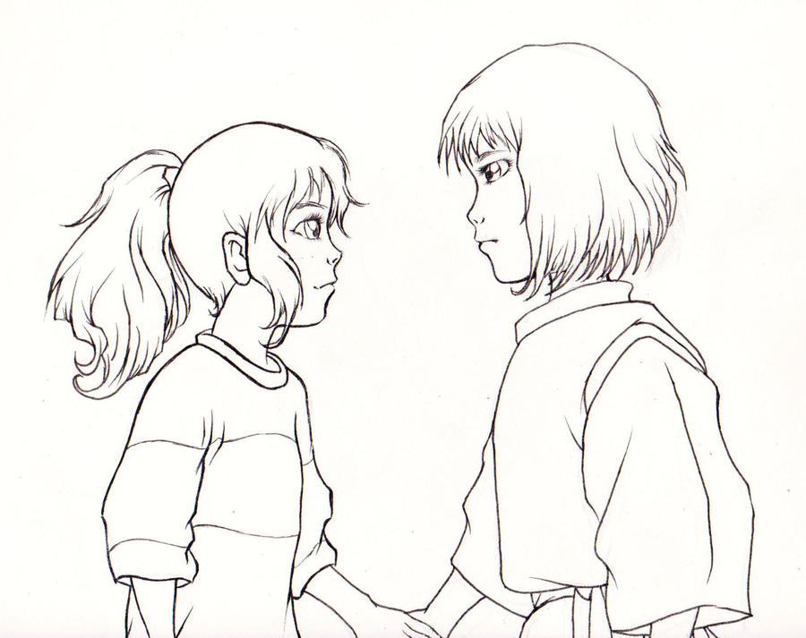 Spirited Away Chihiro And Haku Line Art By Kimberly Castello On Deviantart