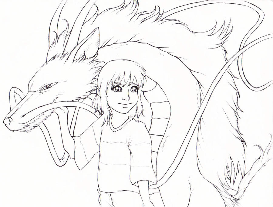 Spirited Away Haku And Chihiro Line Art By Kimberly Castello On Spirited Away Coloring Pages